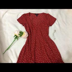 Forever 21 Women Poka-Dot Red Dress / Size S (4-6)